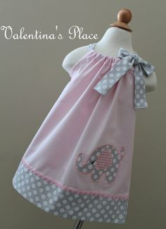 Beautiful Elephant in pink pillowcase dress. on Etsy, $30.00