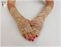 Gold elastic floral lace gloves. Fingerless gloves. Bridal gloves. Lace mittens. Gold,White,Ivory,Mint green,Midnight black Wedding gloves. - Bridal gloves (*Amazon Partner-Link)