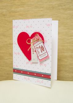 Handmade card with a ticket for one free kiss - cute idea for Valentine's Day!