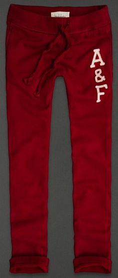 Abercrombie & Fitch Sweatpants in Burgundy: Supersoft, classic logo applique, soft waist with internal drawcord, front pockets and worn cuffed for an updated look. Retails at $68.00
