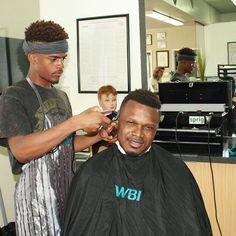 Eventually the student becomes the teacher. #haircuts #5bucks #barberschool - - - - - - #barber #barbershop #barberlife #hairstyle #hair #stylist #hairstylist #hairdresser #haircut #haircuts #hairstyles #fade #shapeup #barberskills