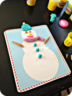 Blue Skies Ahead: Printable Christmas PlayDough Mats!  Print out and laminate a snowman, gingerbread man, and Christmas tree to let your kids decorate with playdough.