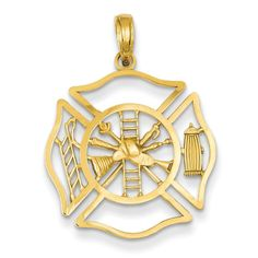 14K Yellow Gold Fireman's Shield (Badge) Charm Pendant. Fireman's Shield (Badge) Charm Pendant Crfted From polished 14K Yellow Gold. Finish: Polished. Approximate Weight: 1.36 Grams. 14K Yellow Gold. Length: 29 Millimeters Including Bale.
