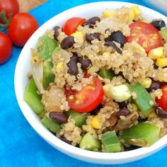 """Quinoa and black bean salad. - I made this last night and it is so yummy and flavorful! I portioned it out and refidgerated it to throw right into my lunches this week, made 3 hardy servings as a """"main dish"""" and was filling and great cold."""