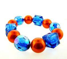 Orange & Blue Bauble and Pearl Bracelet | Ilene's Gator Store