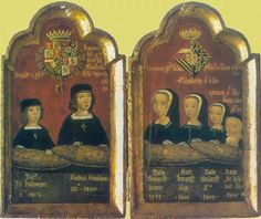 """An altarpiece showing the children of Juana """"the mad"""" and Felipe """"the handsome"""" with their names and birth dates at the bottom."""