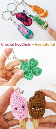 Crochet Cute Keychain Crochet Cute Keychain,Handarbeit Learn how to crochet these cute key chains. Knitting Patterns, Crochet Patterns, Easy Patterns, Easy Knitting, Crochet Stitches, Knit Crochet, Crochet Keychain Pattern, Cute Keychain, Crochet Decoration