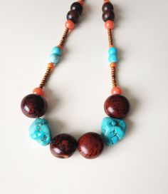 Long Turquoise Necklace - Turquoise & Wood Necklace - Boho Necklace - Turquoise and Orange Necklace - Long Summer Necklace