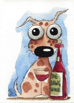 ACEO Original watercolor whimsical animal painting art puppy dog wine glass #Folkartillustration