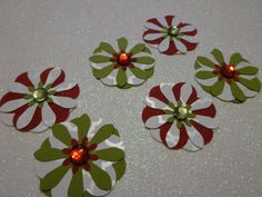 White/Green/Red Handcrafted Paper Flowers by PaperCraftingByMandy, $3.50