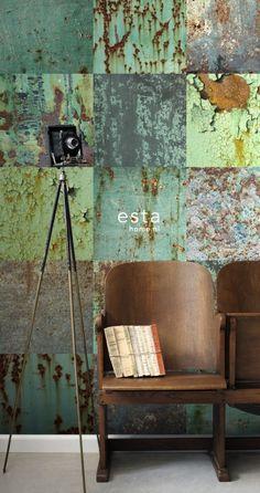 Esta Home Vintage Rules! WallpaperXL Metalen platen 158203 | Esta Home Vintage Rules! | www.behangwereld.nl Ik houd van die dramatische tinten turkooise !