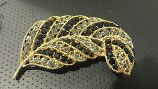 Vintage Signed Lisner Gold Tone clear and black  Rhinestone Leaf Brooch Pin