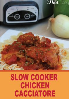 Grab your slow cooker and make this easy and delicious Chicken Cacciatore dinner recipe!