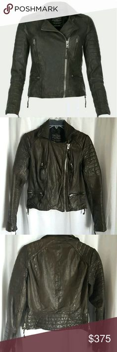 "All Saints Pitch Leather Biker Moto Jacket SLATE 4 All Saints Pitch Leather Biker Moto Jacket SLATE Grey Charcoal Espresso $700  Sz US 4 / UK 8  Color: Slate (To me it looks like a dark warm gray w/a hint of espresso brown.)   Condition: Excellent, pre-owned condition.  NOTE: Tonal variation throughout jacket, as is expected with wear.   Measurements (approx):  -Bust (pit to pit) 17.5""  -Across Shoulders 14""  -Across Bottom Hem 17""  -Body Length 19.25""  -Sleeve Length 23""   From a…"