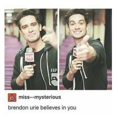 """If you're ever doubting yourself, just know what Brendon Urie believes in you"" by george-ryan-ross-the-third ❤ liked on Polyvore featuring beauty"