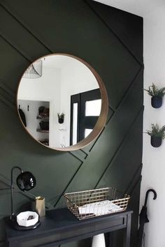 This gorgeous modern entryway reveal is here! Love the dark green accent wall! From the beautiful bench, to the herringbone floors, to the black front door, and the wood accent feature wall. This entry is stunning! Green Accent Walls, Accent Walls In Living Room, Green Accents, Wood Accents, Wood Accent Walls, Feature Wall Living Room, Wood Walls, Wall Wood, Modern Entryway