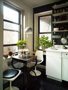 I like this combo of black and white.  Via The Kitchn