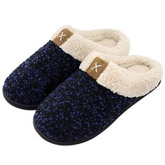 5907f4db2ae Women s Comfort Memory Foam Slippers Wool-Like Plush Fleece Lined House  Shoes w Indoor