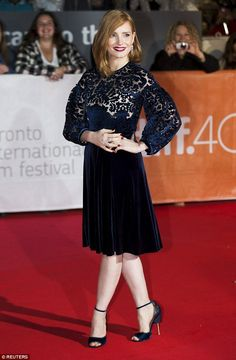 Leading the glamour: Jessica Chastain looked sensational as she walked the red carpet for ...
