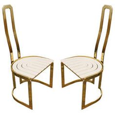 Pair of Architectural Sculptural Brass and Lacquer Chairs