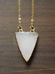 Vanilla Druzy Triangle Necklace 14k Gold Filled by friedasophie