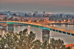 Bridge in Novi Sad, Serbia can change to other colors World Cities, Countries Of The World, Wonderful Places, Beautiful Places, Travel Around The World, Around The Worlds, Belgrade Serbia, Novi Sad, European Tour