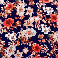 """Red Pink Floral on Deep Blue Ponte De Roma Knit Fabric - Dark navy blue background with vintage style floral print in colors of red and pink on a super soft Ponte De Roma knit.  Ponte de Roma fabric is a thicker medium weight and has a nice stretch, excellent drape, and great recovery.   Fabric has a subtle horizontal texture.  Amazing designer fabric great for maxi skirts, dresses, tops, and more!  Biggest flower measures 5 1/2"""".  ::  $7.50"""