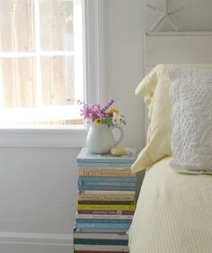 Cottage Living, Cottage Style, Nightstand, Bedside, Stack Of Books, Scandi Style, Wooden Boxes, Guest Room, Whimsical