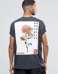 Super Oversized T-Shirt With Chinese Style Back Print And Roll Sleeve  Estilo Masculino 9458ce03ca5f1