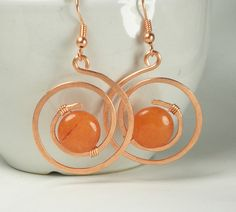 Cooper wire wrapped earrings, Quartzite Orage lentil earrings