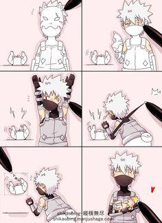 Aww. ANBU Kakashi and baby Naruto. :3