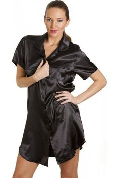 Luxurious Knee Length Black Satin Nightshirt Silk Pajamas 7886d591a