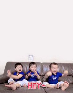 gif: minguk | Tumblr Triplet Babies, Superman Baby, Song Triplets, Animals For Kids, My Children, Kids Toys, Cute Babies, Twins, Tumblr