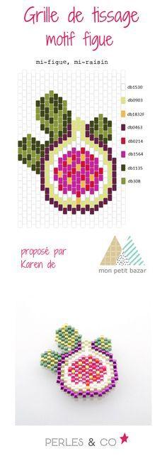 """Aimez-vous la figue? Oui ?  Alors, grâce à  Karen du blog Mon petit bazar, voici un diagramme nommé  """"mi-figue, mi-raison""""  pour réaliser un tissage de perles Miyuki aux couleurs de l'automne.  Retrouvez le tutoriel et le diagramme sur le site de Perles & Co >> https://www.perlesandco.com/Diagramme_figue_en_perles_Miyuki_Delicas_par_Mon_Petit_Bazar-s-2777-47.html"""