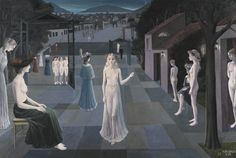Paul Delvaux 1897 - 1994 LA ROUTE DE ROME Signed P. Delvaux and dated (lower right); Delvaux and titled [La Route de Rome] (on the stretcher) Oil on canvas 63 by 94 in. 160 by 240 cm Painted in Victor Brauner, Rome, Paul Delvaux, Rene Magritte, Romanesque, Surreal Art, Oil On Canvas, Modern Art, Fine Art