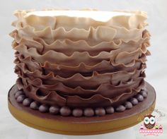 6 inch Chocolate Brown Ombre Ruffle Cake