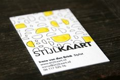 businesscard for a famous styliste in the Netherlands with letterpress and watercolor.