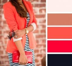 Orange blazer and striped dress Colour Combinations Fashion, Color Combinations For Clothes, Fashion Colours, Colorful Fashion, Color Combos, Green Fashion, Work Fashion, Style Fashion, Mode Outfits