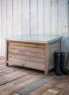 This robust rustic wooden garden storage box can provide indispensable storage, a great alternative to a garden shed for those with small spaces.   /