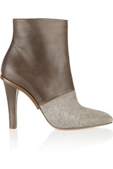 Maison Martin Margiela Embellished leather and suede ankle boots | NET-A-PORTER