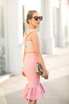 Lady in Pink :: Dégradé top & Peplum hem