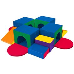 With (4) tunnels, slides and more, the SoftZone Tunnel Maze has everything you need to encourage climbing, crawling and social interaction, as well as develop gross motor skills. Over and under, in and out — the bright shapes and colors will attract your children and keep them entertained, while helping them grow.