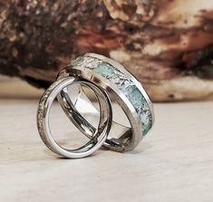 Couple's Set,Tungsten Emerald And Meteorite Wedding Bands,Wedding Ring Set,Mens Wedding Ban. Womens Wedding Bands, Wedding Men, Wedding Rings, Viking Wedding, Matching Wedding Bands, Gold Wedding, Meteorite Wedding Band, Tungsten Wedding Bands, Men Rings