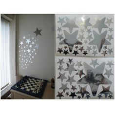52 Mirror Star Wall Stickers on 2 sheets of A4: Amazon.co.uk: Kitchen & Home