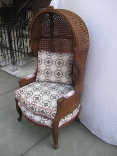Vintage Rattan Hood or Canopy Chair with Tony Duquette Upholstery & Rattan HOODED Chairs w/ Carleton Varney fabric | CIRCA WHO New ...