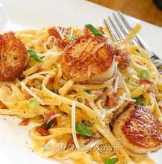 Carbonara with Pan Seared Scallops | Art and the Kitchen