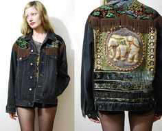 Vintage ELEPHANT Jacket Fringe Sequin Patch by cruxandcrow on Etsy