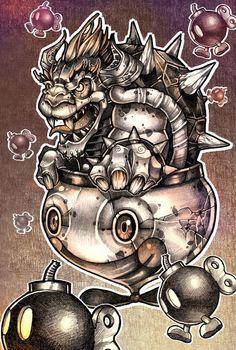 BOMBS AWAY #BOWSER Art Print #super #mario #nintendo #gaming