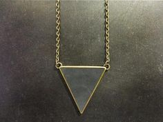 Perfect gift for those who love minimalism. Triangle long necklace with leather - gray – a unique product by KAALEE via en.DaWanda.com