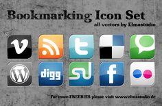 Bookmarking Icon Set Vectors by Elmastudio